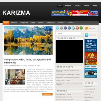 Karizma blogger template with image slideshow template and pagination for blogger ready
