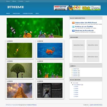 BTheme blogger template. image slideshow template blog for blogspot template. photography template blog