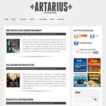 Artarius blogger template with pagination for blogger ready. 4 column footer blogger template