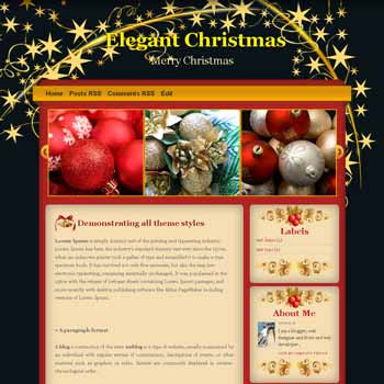 Elegant Christmas blogger template. christmas theme blog. template blog image slider