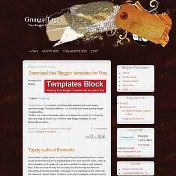 Grunge Tag blogger template converted from wordpress theme to blogger. grunge template blogger