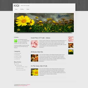Kiqi blogger template. image slider blogger template