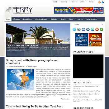 Ferry blogger template. pagination for blogger ready. magazine style template blog. image slider template blog