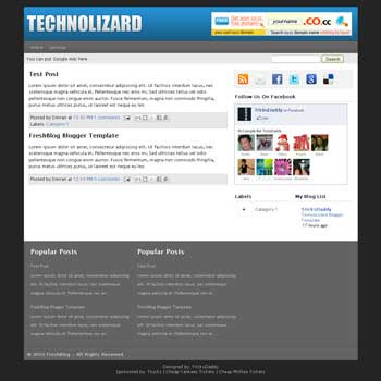 Technolizard blogger template. 3 column footer blogger template. 3 column blogger template
