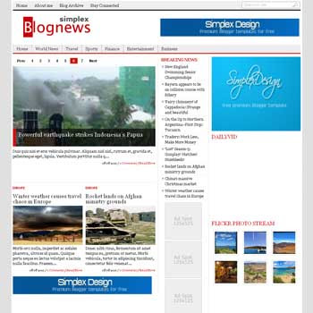 Simplex Blognews (Renew Version) blogger template. magazine blogger template. template magazine blogspot
