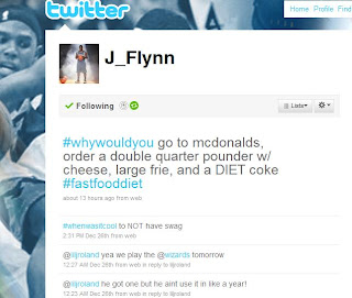 Screen Shot of Jonny Flynn's Twitter account