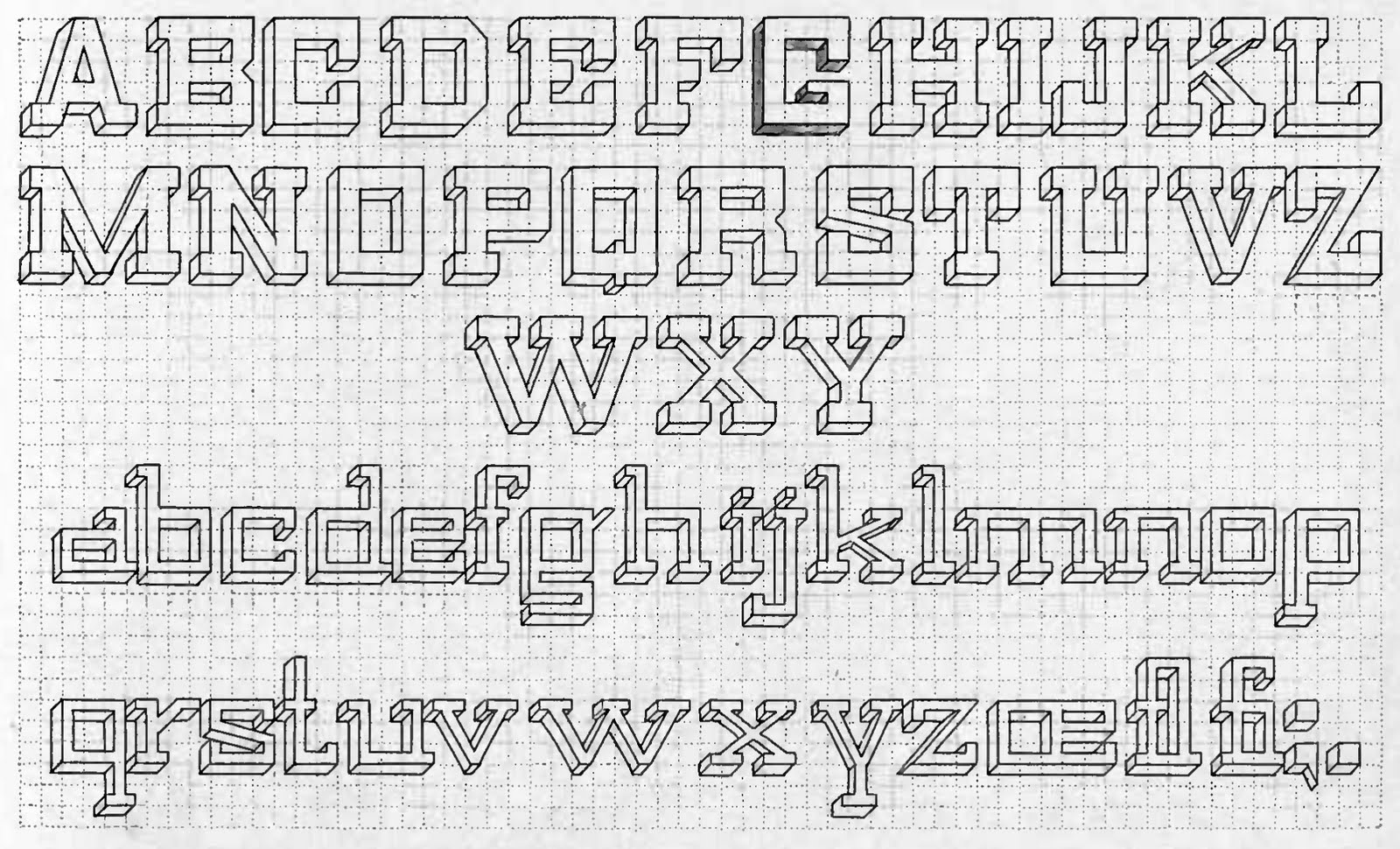 ive included some specimens of various alphabets below that you can either print and trace or using grid paper reproduce yourself