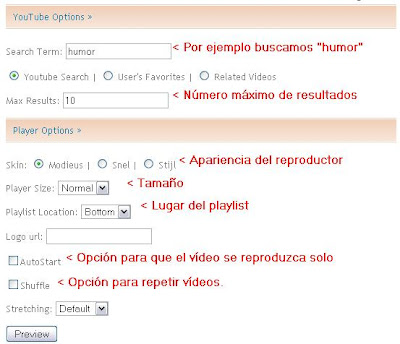 lista de videos youtube blogger