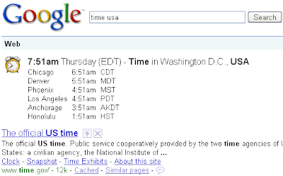 Time Search in Google