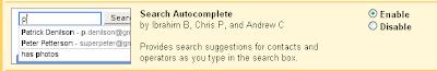 Gmail : Search Auto Complete