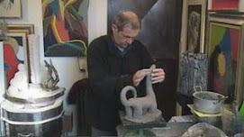Franco Boaretto nel suo studio