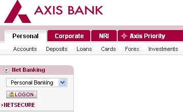 axis bank credit card application form