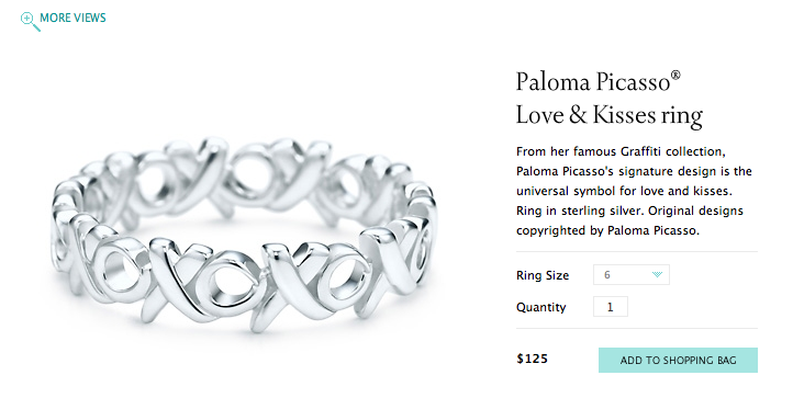 TIFFANY Paloma Picasso® Love & Kisses ring (2). ORDER IS REQUIRED
