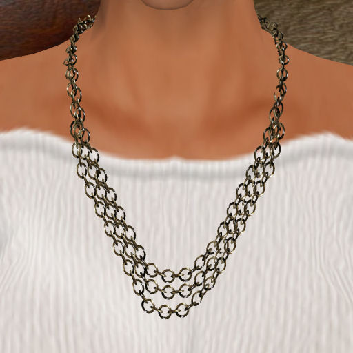 Triple Platinum Link Necklace