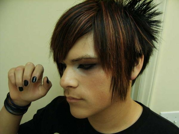 these features make up a typical Emo hairstyle.