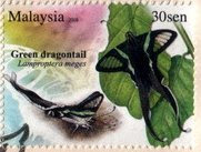 Butterflies Of Malaysia 30sen Green Dragontail
