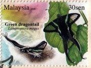 Butterflies Of Malaysia 30sen Green Dragontail