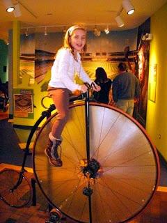 Sadie on Edison Bike at Chicago History Museum