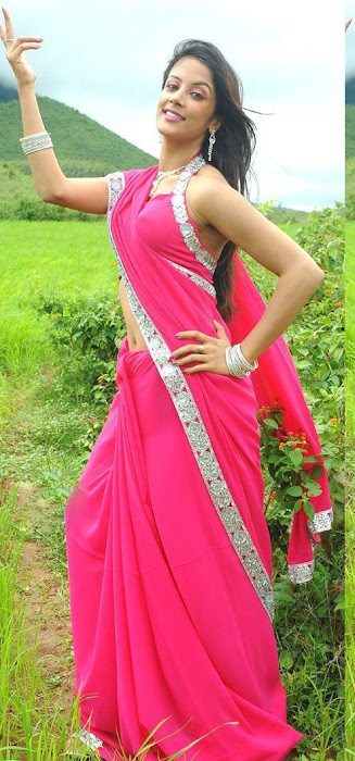 rithika in pink saree cute stills
