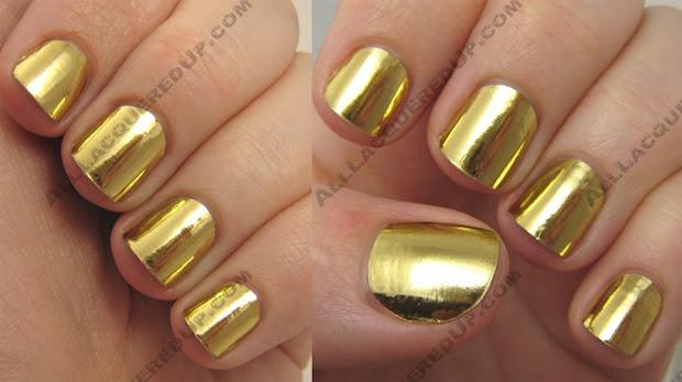gold nail polish design