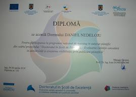 Diploma pentru training în autorat ştiinţific