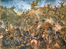 Cucerirea redutei Griviţa I de către armata română- litografie de epocă