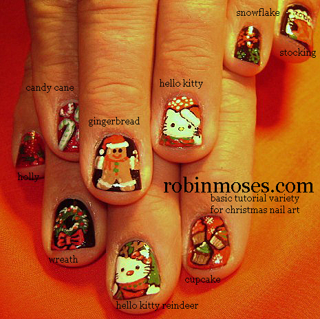 Christmas Flowers Nail Design Art Monkey Candy Cane Light Robin Moses