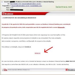 bradesco, golpe, virus, email
