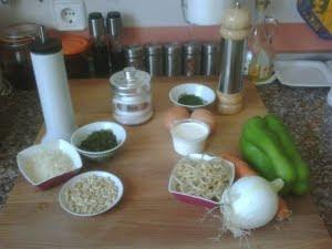 Ingredientes para el pesto, las tortillas y el salteado de verduras.
