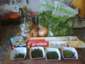 Ingredientes para hacer la spanakopita.