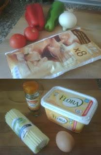 Ingredientes para los pañuelos de pisto.