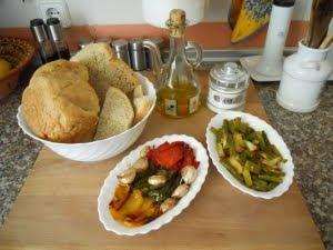 Ingredientes para las migas de pan.