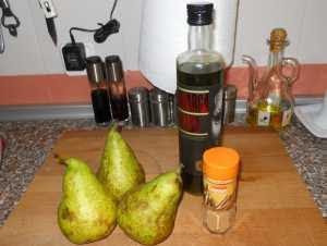 Ingredientes para las peras con canela.