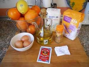 Ingredientes para las tortas de naranja.