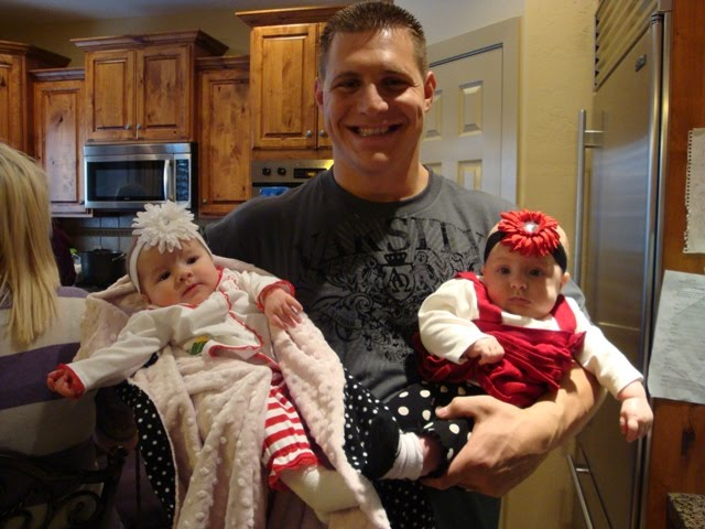 Cole and his 2 new nieces =) Marseille on the left Capri on the right