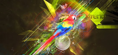 digital art bird abstract