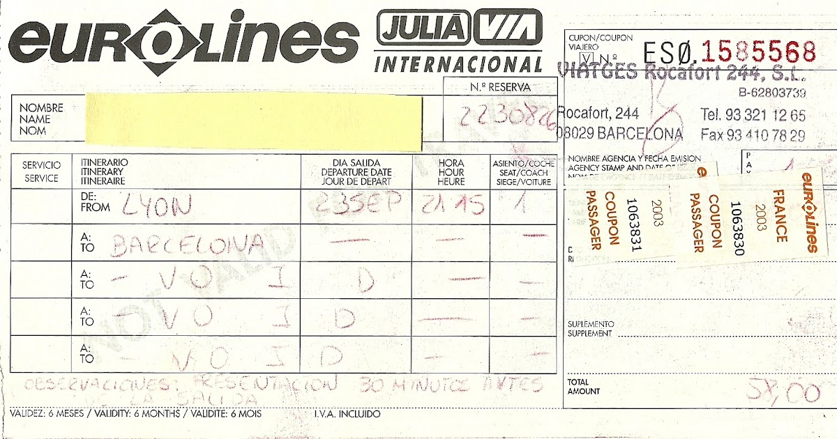 The traveler 39 s drawer eurolines bus ticket from lyon to - Lyon barcelone bus ...