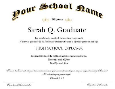 sample of high school diploma certificate