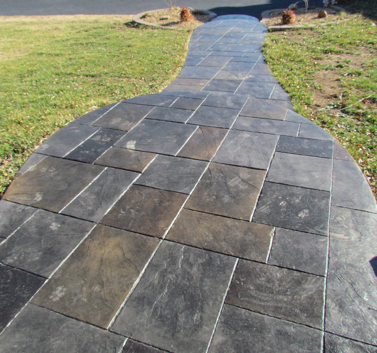 Excellent stamped stained concrete building a castle - Stamped concrete walkway ideas ...