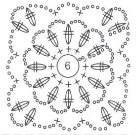 Схема вязания мотива для топа
