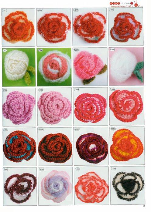 Схема вязанных роз крючком
