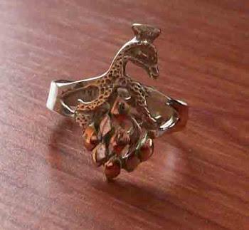 Cod anp 2374 Anillo pavo real en plata 950 y oro 18 k S/ 25.00 nuevos soles