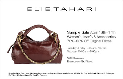 elie tahari sample sale