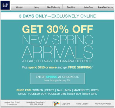 30 Percent off New Arrivals for Gap, Banana Republic or Old Navy