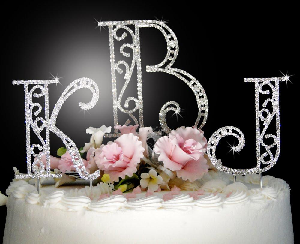Swarovski Crystal Monogram Cake Topper~Roman Font~Cake Topper Online