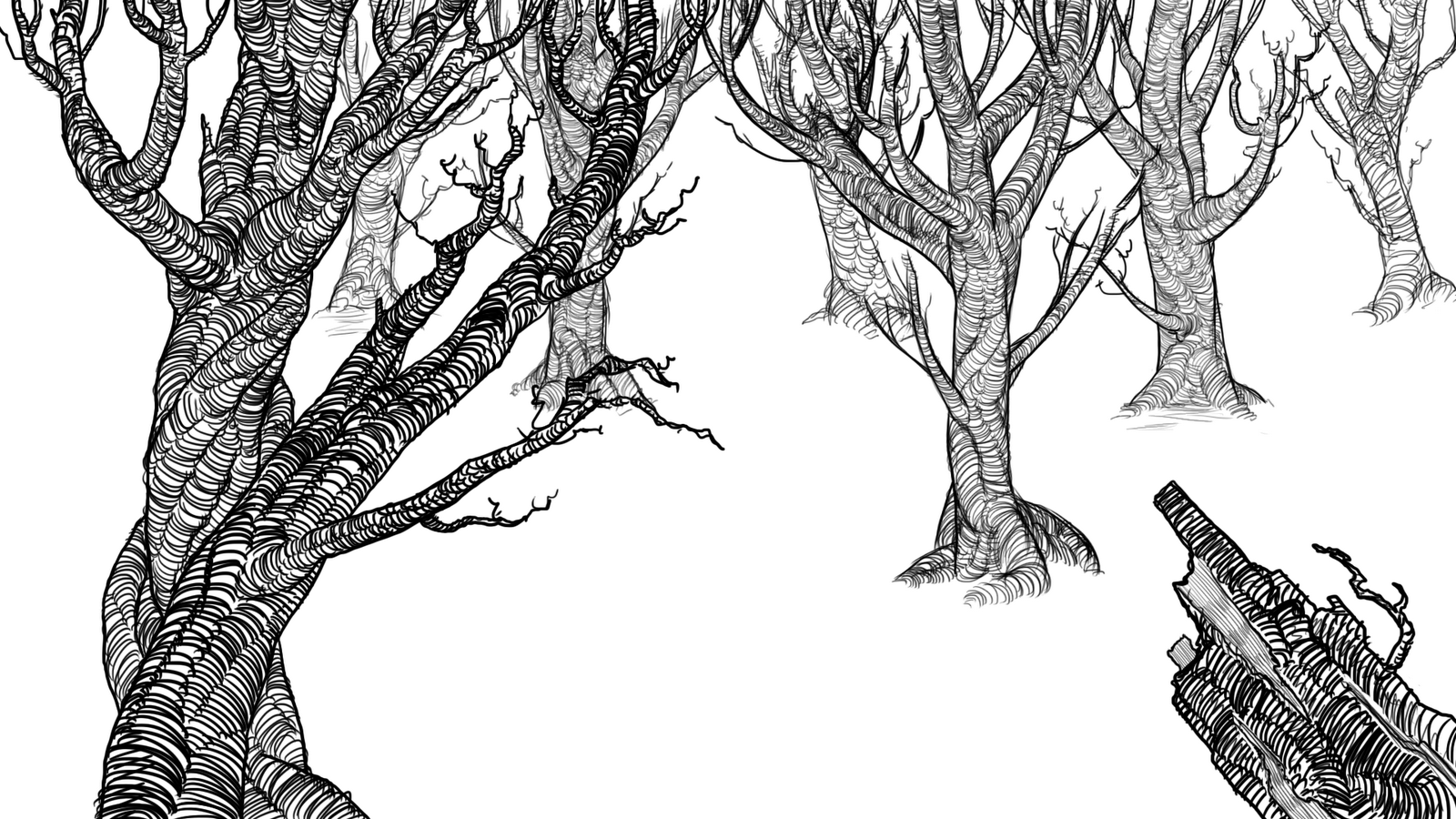 Line Art Forest : Justin s graham final film dark forest