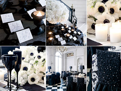 black and white wedding decor. Wedding Styling and Decor. Black glassware creates high class drama,