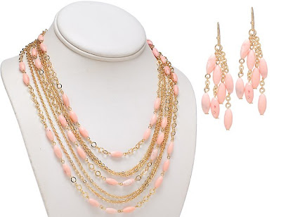 Bead and Layered Gold Necklace and Earring Jewelry Sets
