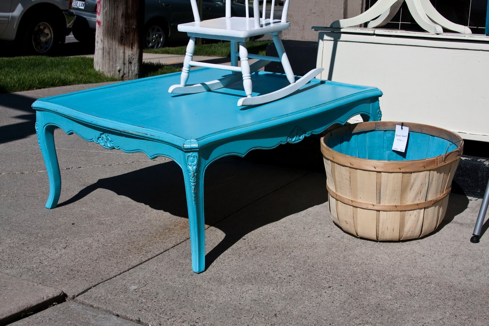 Modernly Shabby Chic Furniture Square Turquoise Coffee Table
