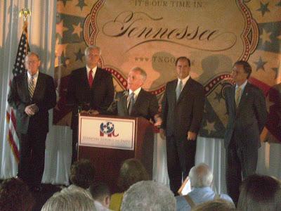 Lamar Alexander, Ron Ramsey, Bob Corker (speaking) Zack Wamp and Bill Haslam